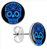 Wholesale Skull Ear Studs - Wholesale Studs Earring 50 pieces lot Sugircal Steel Blue Sugar Skull Ear Studs Cheater Plugs Size 10mm*1.2mm ZCST-011
