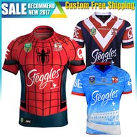 Wholesale Spider Man Top - 2017 Australia Sydney Roosters rugby jerseys men 9S rugby shirts Spider Man jerseys home jerseys top quality Roosters Auckland Nines shirts