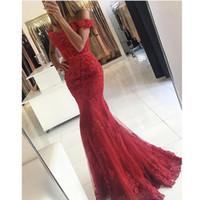 Wholesale Short Sweetheart Prom Dresses Mermaid - Vintage Red prom gowns Vestidos De Fiesta Off the Shoulder Sweetheart Appliqued Short Sleeve Lace Mermaid Evening Dresses 2017