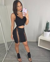 Wholesale hot night suit women - Hot Style Sexy Double Row Corns Backless Deep V Crop Top and Skirt Set 2017 Womens Summer Club Suit