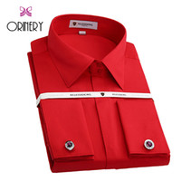 Wholesale Mens French Clothing - Wholesale- ORINERY Hot Sale Mens Dress Shirt High Quality Camiseta Masculina Long Sleeve French Cuff Shirt With Cufflinks Brand Clothing