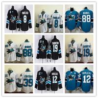 Wholesale Dry Goods - Cheap San Jose Sharks Ice Hockey Running Jerseys 8 Joe Pavelski 88 Brent Burns 19 Joe Thornton 39 Logan Couture Black White Green Good