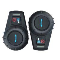 conjuntos de intercomunicación al por mayor-FDC 2PCS / Set FDC-01VB Motocicleta BT Interphone Casco Intercom Auricular Altavoz Bluetooth con MIC Radio FM para casco de motocicleta Intercom
