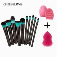 Wholesale pc based - Chileelove 10 Pcs  Set Base Cosmetics Makeover Mini Makeup Brushes Kit +Wash Egg +Puff