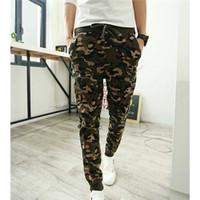 Wholesale Camouflage Casual Pants - Wholesale-Camo Joggers Pencil Pants 2016 Fashion Slim Fit Camouflage Pants Men Pants For Track New Arrival KH853402