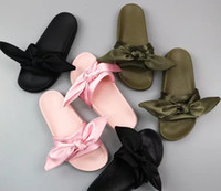 Wholesale Covered Slippers - 2017 women Rihanna Slippers Bow Bandana Slide Slippers Fenty Bow Slides woman Summer outdoor beach sandals slippers mix colors