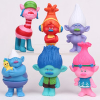 6Pcs / Set Dreamwork Dessins animés Trolls Poppy DJ Suki Guy Diamant Cooper Direction Critter Skitter Cartes PVC Figurines Figurines Jouets MD030