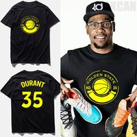 Wholesale Male Shirt Golden - Brand clothing tee shirt homme 2017 new design #35 Kevin Durant jersey golden state letter print basketball t-shirt male,tx2468