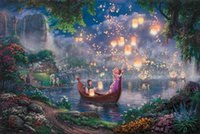 Wholesale Canvas Oil Painting Landscape Forest - Modern Thomas Kinkade Tangled Giclee Forest Fantasy New Day Oil Paintings Art Print On Canvas No Frame