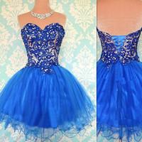 resim cüppe kızı toptan satış-2017 Kısa Balo Kraliyet Mavi Mezuniyet Elbiseleri Sevgiliye Tül Ve Dantel Gerçek Resim Seksi Homecoming Parti Törenlerinde Kızlar Için