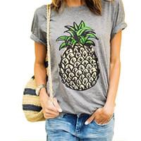 kadınlar için gündelik kıyafetler toptan satış-Kadınlar için 2017 Giyim Moda T-Shirt Kadın Yaz Ananas Meyve Baskı Kısa Kollu O Boyun Pamuk Kulübü Rahat Tees Tops