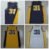 Wholesale Men Sleeveless Tops - Top Quality 31 Reggie Miller Throwback Jerseys Man Navy Blue Yellow White Basketball Miller Jerseys Sports Vintage Stitched with player name