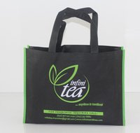 Wholesale Reusable Bags Logo - Wholesale- 1000pcs lot 30x40x10cm Custom printed 2 colors company logo gift non woven bags reusable shopping bags for ads Free Shipping