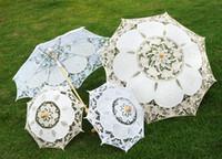 Wholesale Wholesale Victorian Parasol Umbrellas - Wedding Lace Parasols Bridal Umbrella Retro Wedding Party Victorian vintage palace style L and S size
