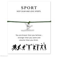 Wholesale Friendship Bracelets Jewelry - Wish Bracelet With Gift Card Silver Gymnastics Gymnast Charm Bracelets & Bangles for Women Girls Adjustable Friendship Statement Jewelry