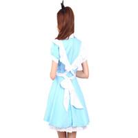 Wholesale Plus Size Alice Costume - for women Adult Kid Plus Size XXL Alice In Wonderland Lolita Dress Maid Cosplay Fantasia Carnival Halloween Costume For Women Girl