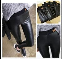Wholesale Thick Fur Jeans - Autumn and winter with thick PU slim female cashmere leather pants wearing pants outside the cat head high waisted Leggings PU jeans