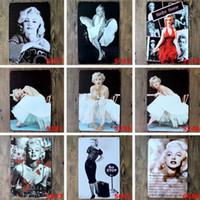 Wholesale Sexy Bar Paintings - Metal Paintings Wall Sexy Lady of Marilyn Monroe Vintage Metal Tin Signs Painting Home Decor Wall Art Craft Sticker Bar 20x30cm Pub