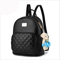 Wholesale pink bear backpack for sale - Group buy Diamond Lattice womens small backpacks mini bear ornament oval handbag backpack Japan and Korean style leather backpacks for girls
