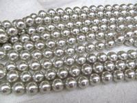 12mm rote perlen halsketten großhandel-grau Perlenschmuck schwarz silber weiß rosa rot runde Kugel gelb Perlen Schmuck für machen Halskette 2strand 3-12mm