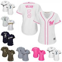 Wholesale Cheap White Ladies Shirt - 2017 Womens Milwaukee Brewers Jerseys 5 Jonathan Villar Baseball Jerseys Ladies Shirt Cool Base White Navy Grey Pink Fashion Green Cheap