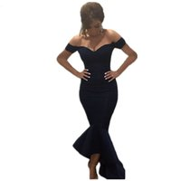 Wholesale Cap Shoulders Fitted Prom Dresses - Mermaid High Low Prom Dresses under $50 Off the Shoulder Cheap Fitted Elastic Jersey Formal Gown Evening Party Dress robe de soiree