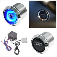 Wholesale Ignition Led - Car styling Auto Keyless Engine Ignition blue LED Light Button Starter Power Switch Push Start Universal