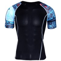 Wholesale panel tights - Mens Compression Shirts 3D Teen Wolf Jerseys short Sleeve T Shirt Fitness Men Lycra MMA Crossfit T-Shirts Tights Brand Clothing