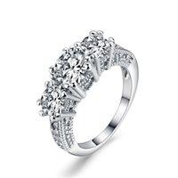 Wholesale Emerald Diamond Gold Rings - Unique Mens Womens ring heavy Three Emerald solid White Gold Amethyst Prasiolite Gemstone Wedding Rings