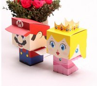 Wholesale Mario Wedding - 1000pcs lot Super Mario Bros wedding candy box novelty gift box for children Free shipping #GF79