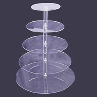 Wholesale Cupcakes Displays - 5 4 3 Tier Acrylic Cupcake Stand Transparent Cake Tower Rack Holder Pan Wedding Decoration Party Birthday Display Tool wn100