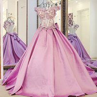Wholesale Long Dresses Uk Online - Real Luxury Pageant Evening Dresses 2017 Long Illusion Beaded Applique Pearls Petals Bow Prom Dress Corset Formal Party Gowns USA UK Online