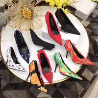 sandales de mariée achat en gros de-Marque de luxe Femmes Extrême Pointu Toe Couteau Pompes 11 Couleurs Soie Robe Chaussures De Mariée Imprimer Lady Navy Brume Seules Chaussures Sandales