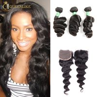 Wholesale Smooth Waves Hair - Unprocessed Brazilian Virgin Human 3 Hair Bundles With 4x4 Closure Loose Wave 1B Color Wet And Wavy Soft Smooth Cheap Queenlike 7A Grade