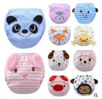 Wholesale Panda Baby Cloths - Cartoon Animal Panda Fox Baby Diapers Reusable Nappies Cloth Diaper Washable Infants Toddler Baby 3 Layers Cotton Diaper Nappy 654
