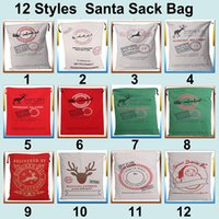 Wholesale Hot colors Christmas Large Canvas Monogrammable Santa Claus Drawstring Bag With Reindeers Monogramable Christmas Gifts Sack Bags