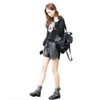 Wholesale Mid Waist Shorts Pu - Women's Sexy PU Leather High Waist Faux Leather Shorts Hot Pants Slim Casual Large Size Boots Pants PU Leather Shorts