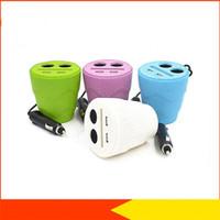 Wholesale Car Light For Cigarette Lighter - Multi-function Cigarette Lighter 12-24V Dual USB Cup Car Charger With LED Light Universal For GPS DVR Phones Charge