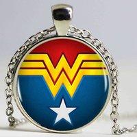 Wholesale Bronze Comics - Wonder Woman Logo Bronze Plated Pendant Necklace Comics Charm Vintage Choker Statement Necklace Women Jewelry WW2