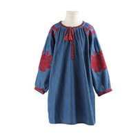Wholesale Women Embroidery Jeans Wholesale - Mother and dauther denim dresses girls floral embroidery jeans dress women tassel lace-up bows A-line dress autumn new family clothing T4887