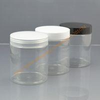 Wholesale Wholesale Cookie Jars - Wholesale- 250g clear PET Skin Care Cream Jar 250ml transparent Plastic Storage Clear Container PET Cookie Jar with black white clear lid