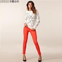 Wholesale Size Xs Pants For Women - XS-XXL 6 Size Women's Casual Trousers Candy Color Elastic Slim Pencil Pants for Women Black   Red   Orange   Green Color