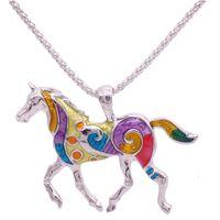 Wholesale Enamel Link Necklace - Wholesale-Colorful Horse Necklace Enamel Brincos Vintage Ethnic Animal Pendant For Women Fashion Jewelry 2016 Drop Shipping