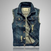 Wholesale wholesale sleeveless denim jackets for sale - New Arrival Men s Denim Vest Brand Jeans Vest Men Cowboy Vest Denim Sleeveless Jacket Plus Size