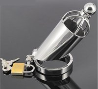 Wholesale enclosed chastity - Exclusive 2017 Latest Male Stainless Steel Semi-enclosed Straight Cock Penis Cage W Catheter Chastity Device BDSM Sex Toy A067