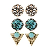 Wholesale Cheap Turquoise Flowers - 3 pairs lot cute flower shaped turquoise earring cheap triangle pendientes vintage mujer boho earrings for women