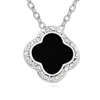 Wholesale clover design necklaces - New arrival 2 colors famous brands jewelry for women classical design four leaf clover necklace with genuine Austrian crystal