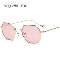 Wholesale Glass Hexagon - Wholesale- New Fashion Hexagon Sunglasses Women Men New Brand Designer Sunglasses Women Geometry Sunglass Anti-radiation Glasses