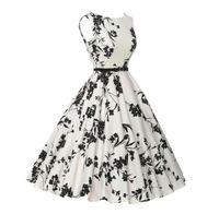 Wholesale Turtle Printed Ribbon - Print Floral 50s 60s Vintage Dresses Audrey Hepburn 2017 New style Summer Retro Dress Vestidos robe Womens Clothing