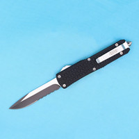 Wholesale Microtech Pocket Knife Serrated - Top Quality Microtech Troodon D07 AUTO Tactical Knife 440C Titanium Single Edge Half Serrated Blade EDC Pocket Knives With Nylon Bag